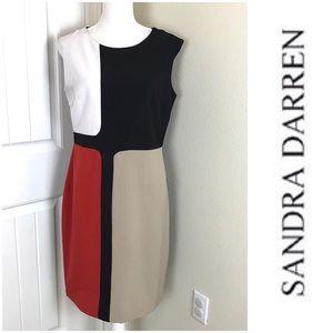 Sandra Darren Colorblock Sleeveless Dress Sz 12
